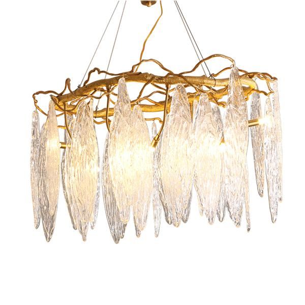 Postmodern glass leaf chandelier