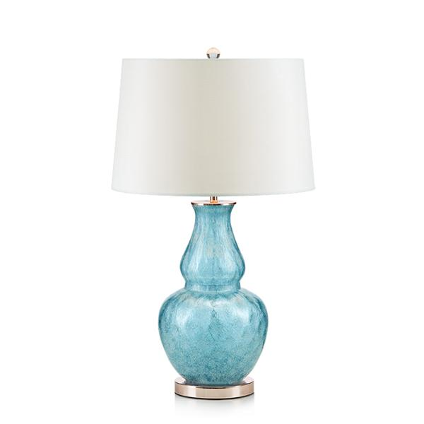 Classical sky blue glass fabric table lamp