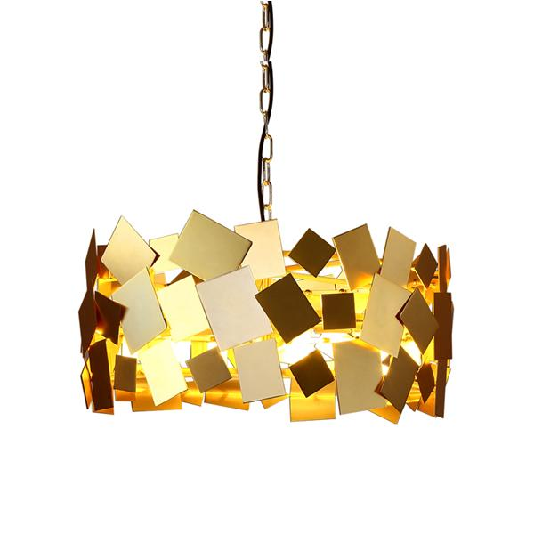 Postmodern luxury square metal chandelier