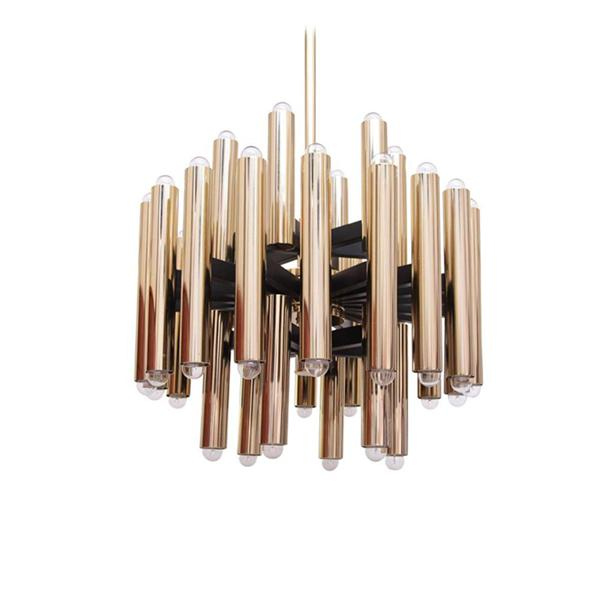 Light luxury modern metal tube chandelier