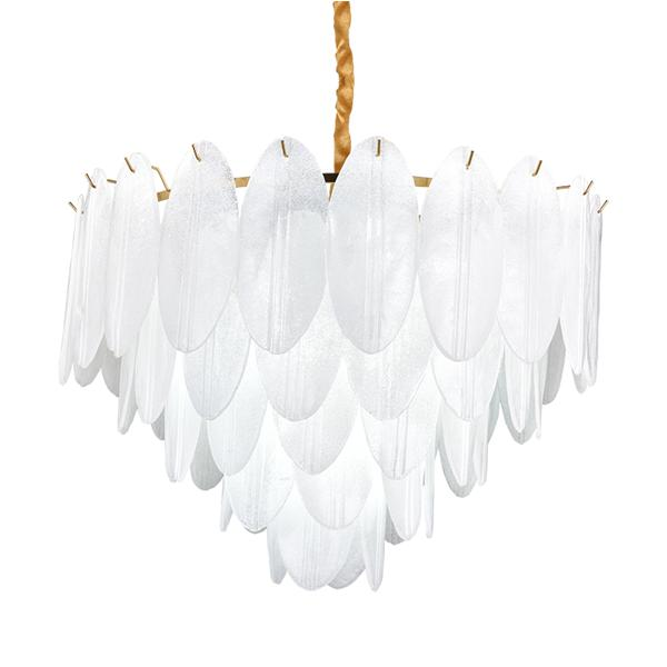 Light luxury simple glass feather chandelier