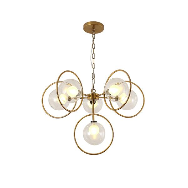 Creative metal ring glass chandelier