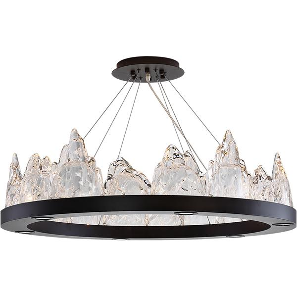 Glass snow mountain round chandelier
