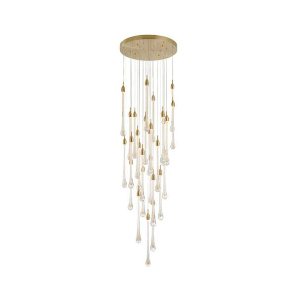 Large hotel chandelier dripping gold foil glass chandelier